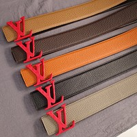 LV Louis Vuitton Fashion New Product Red Letter Buckle Retro Temperament Belt Red