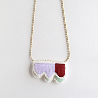 Embroidered abstract necklace layered geometric design with lavender mint green and maroon colors on matte gold tone ball chain Spring trend