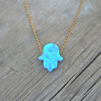 HAMSA,  Blue Opal Necklace Gold fill 14k Chain Gift for her