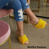 Women Pointed Toe Fur High Heels Pumps