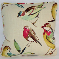 """Bird Watcher Throw Pillow Teal Red Green Yellow 17"""" Linen Square Welted Ready Ship Cover and Insert"""