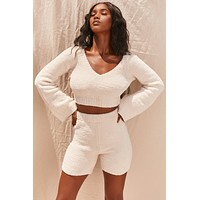 fhotwinter19 new women's fashion sexy V-neck flared sleeve plush short sweater shorts two-piece suit