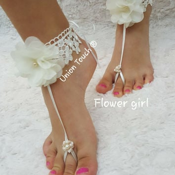Miugle Baby Pearls Barefoot Sandals with Flowers,Lavender