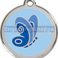 Blue Butterfly Enamel and Stainless Steel Personalized Custom Pet Tag with LIFETIME GUARANTEE ID Tag Dog Tags and Cat Tags Free Engraving