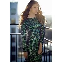 Women's HOT Long Sleeve O Neck Green Sequin Bodycon Mini Dress