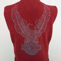 Harley Davidson Motorcycles Men's Red Fleece Riding Zippered Vest Size X Small