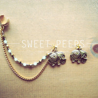 Gold Ear Cuff with Gold Elephant and a String of by sweetpeepshere