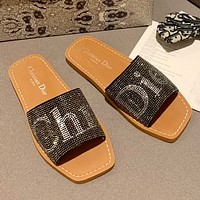Dior spring and summer embroidered letter diamond slippers