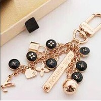 LV Louis Vuitton black round small steel ball keyring key chain fashion wild logo bag buckle keychain F0533-1