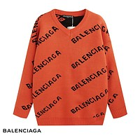 Balenciaga 2018 new trend letter logo embroidery round neck long-sleeved sweater Orange