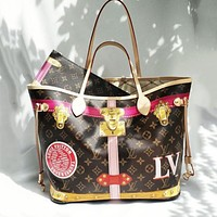 Louis Vuitton Classic Large Capacity Handbag Shopping Bag Two-piece Set Letter Check Print Fashion Lady Clutch Wallet Shoulder Bag