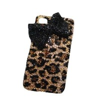 Leopard Bowknot Hard Cover Phone Case for Iphone 5
