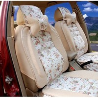 Linen Floral Automobile Car Seat Cushion Seat Cover General Size for Medium Sized Car Romantic Flower (8 Units in One Set)