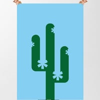 Cactus Print, Printable Plant Wall Art, Instant Download, Cool Home Decor, Succulent Print, Green Decor, Vector Image, Flowering Cactus