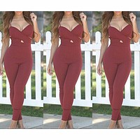 V-NECK PURE COLOR JUMPSUITS