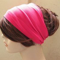 Pink Turban Headband, Wide Hair Tube, Women's Yoga Wrap, Turband, Stretch Fabric, Hair Accessories, Gifts for Her, Gift Ideas