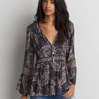 AEO Bell Sleeve Floral Shirt, Navy