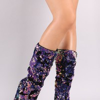 Bamboo Patchy Sequins Pointy Toe Cone Heeld Boots