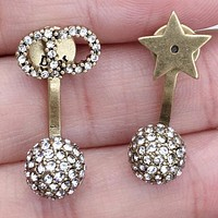 Dior New fashion star more diamond letter round long earring accessory Golden