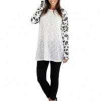 White Leopard Top With Long Sleeves