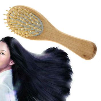 1pc New Practical Smooth Head Massager Wooden Hair Brushes Applied Portable Comb