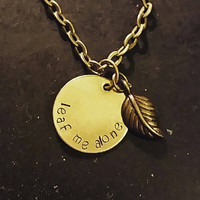Leaf Me Alone Handstamped necklace with a leaf charm