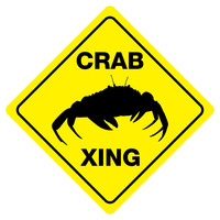 """CRAB CROSSING Funny Novelty Crossing Sign 12""""x12"""""""