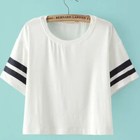 White Striped Short Sleeve Crop Top