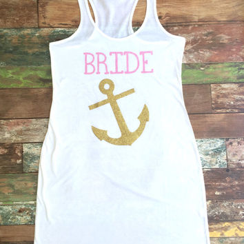 Bride, Bridesmaid, Tank Dress, Bridesmaid gift, Swimsuit Coverup, Brides Mate, Mate of Honor, Anchor Coverup, Bachelorette Party Tank Dress
