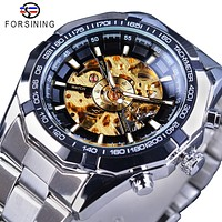 Forsining Golden Gear Openwork Steampunk Racing Sport Military Design Waterproof Mens Mechanical Skeleton Watch Top Brand Luxury