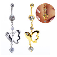 New Charming Dangle Crystal Navel Belly Ring Bling Barbell Button Ring Piercing Body Jewelry = 4672663620