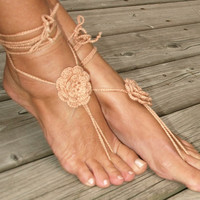 Light brown 3D crochet flower barefoot sandals Bare foot flower rose Summer outdoor shoes Beach Romantic garden wedding Boho pilates Anklet