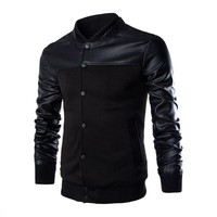 VERTVIE Autumn Casual Jacket Men Stand Collar Coat Patchwork PU Leather Sleeve Outerwear Coat Men Button Homme Clothes
