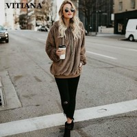 VITIANA Women Casual Hoodies Pullovers Sweatshirt Winter Warm Faux Fur Coat Womens Long Sleeve Zipper Hooded Plus Size 5XL