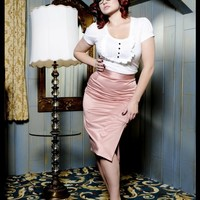 Deadly Curves Skirt in Mauve Shakira Satin | Pinup Girl Clothing
