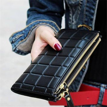 New brand Candy Colors Purse Plaid Zipper Wallet Leather carteira couro Cards Holder For Girls Women Wallet 2017 Gift 1pcs