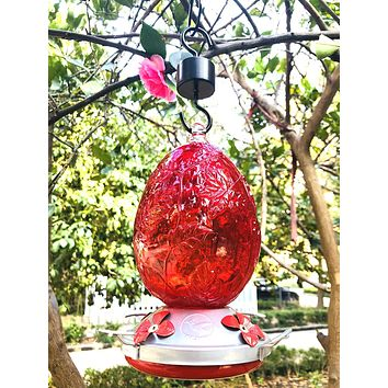 Red Hand Blown Glass Hummingbird Feeder with Etched Leaves - Holds 26 oz of Nectar
