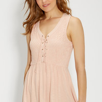 tank with lace up front in dusty peach   maurices