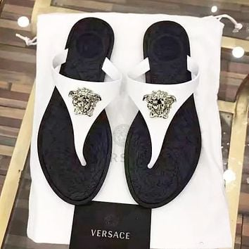 Versace Slippers Women Men Print metal Logo Women head shoes