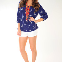 Anchors Away Top: Navy