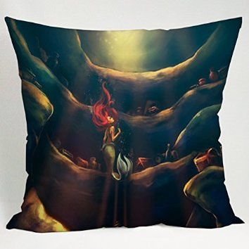 Princess Little Mermaid Fan Art Pillow Case (16x16 one side)