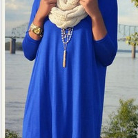 Plain Blue Long Sleeve Shirt Dress