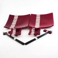 Black Cherry Japanese Dinnerware, Sushi Set, Fused Glass Plates, Square Dinner Plate, Small Bowls, Chopstick Rests, Chopsticks, Couples Gift
