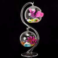 Best Price Fashion Design Crystal Clear Hanging Glass Flower Vases Pot Hydroponic Plant Terrarium Container Home Wedding Decor
