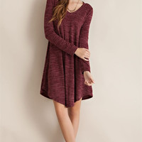 Two Tone Swing Dress - Burgundy