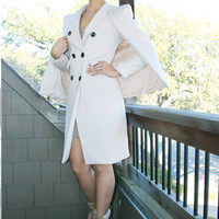 Chic Cape jacket, Two Piece, Cape blazer, pink jacket, womens long jacket, long coat