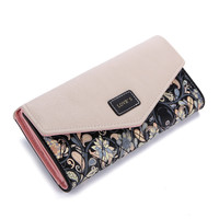 Envelope Women Wallet Hit Color 3Fold Flowers Printing 5Colors PU Leather Wallet  Long Ladies Clutch Coin Purse