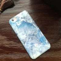Batlady Ice Blue Marble Iphone Case for 6 6s plus