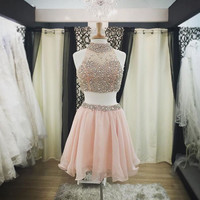 Two Piece Homecoming Dress A-line High Neck Pink Organza Beaded Short Prom Dress APD1615