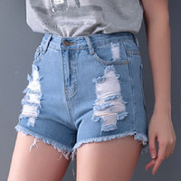 Jeans femme Jeans woman High Waisted Denim Shorts Summer Style Hole Punk Rock Fashion Vintage Ripped Short Jeans Sexy